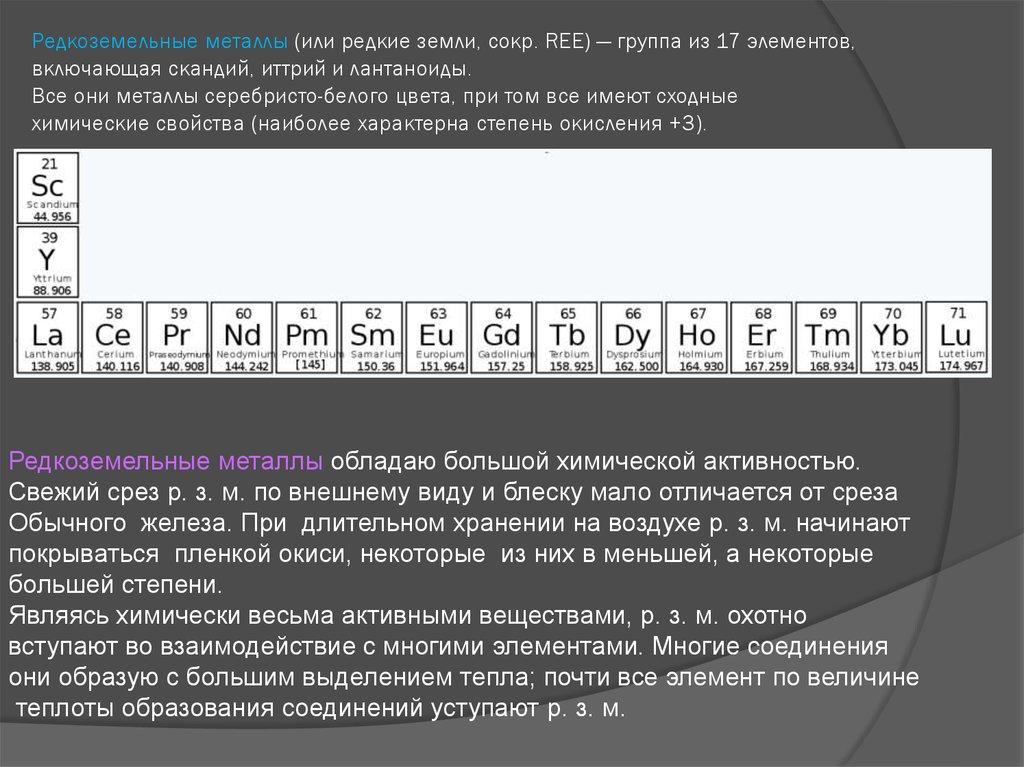 Редкоземельные металлы википедия