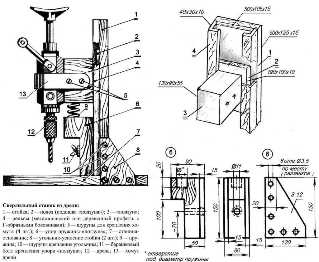 Самодельный сверлильный станок и другие приспособления из дрели
