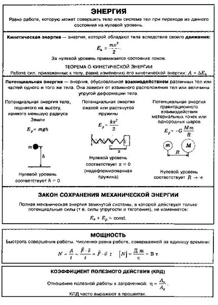 """Конспект """"механическая энергия. закон сохранения энергии"""""""