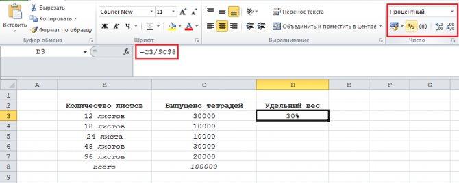 Как найти удельный вес в процентах формула