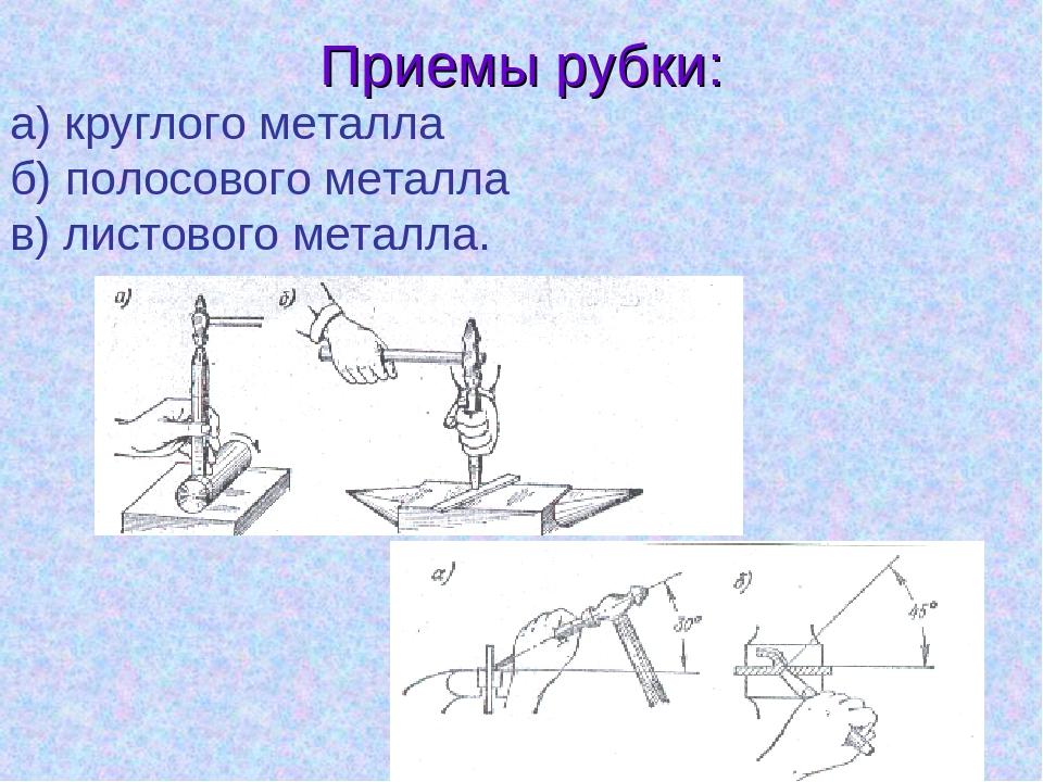 Рубка металла и другие методы обработки