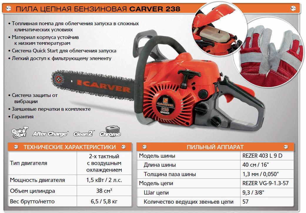Бензопила carver rsg 238 — недорогая модель с широким функционалом