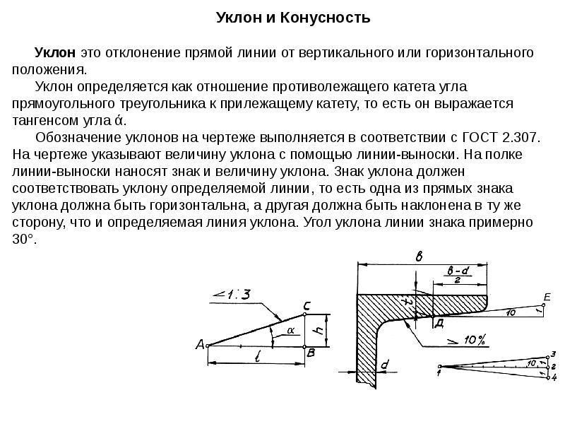 Уклон и конусность - определение, обозначение на чертеже, формула расчёта уклона и конусности | chertimvam.ru