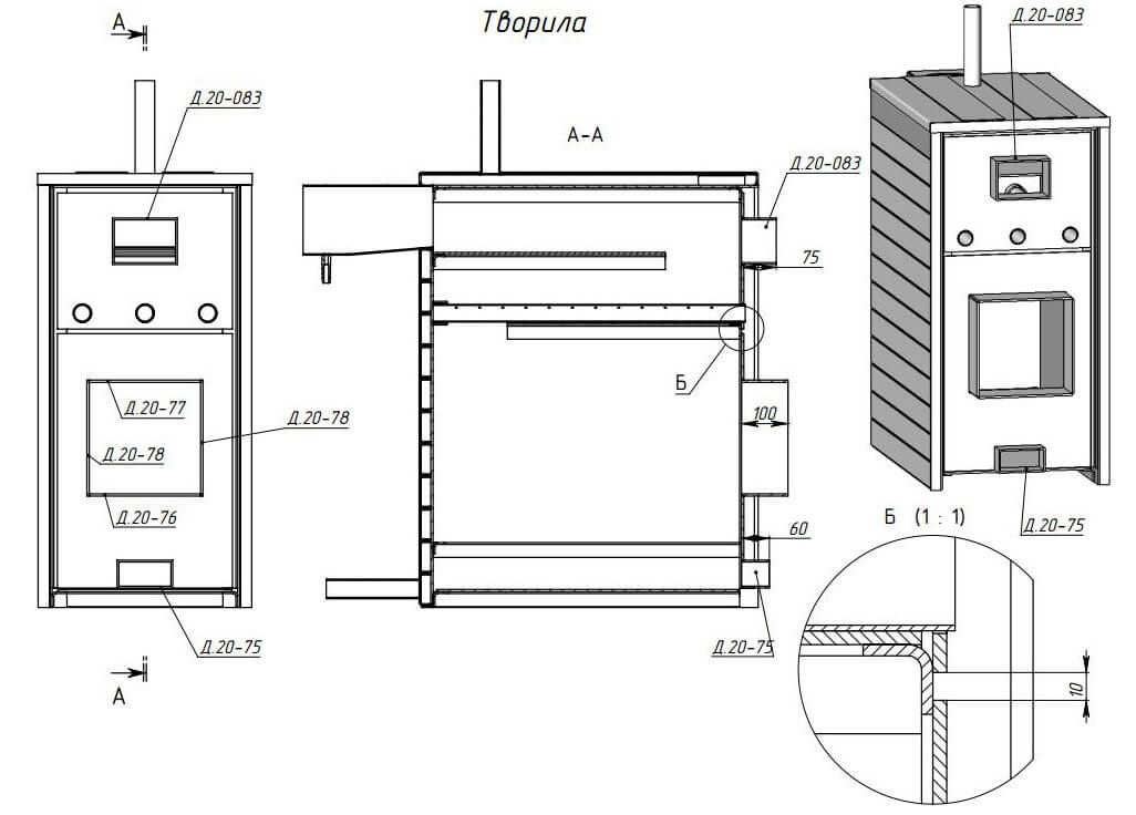 Правила изготовления печи булерьян своими руками, схема, чертежи и 20 фото с процессом и примерами работ