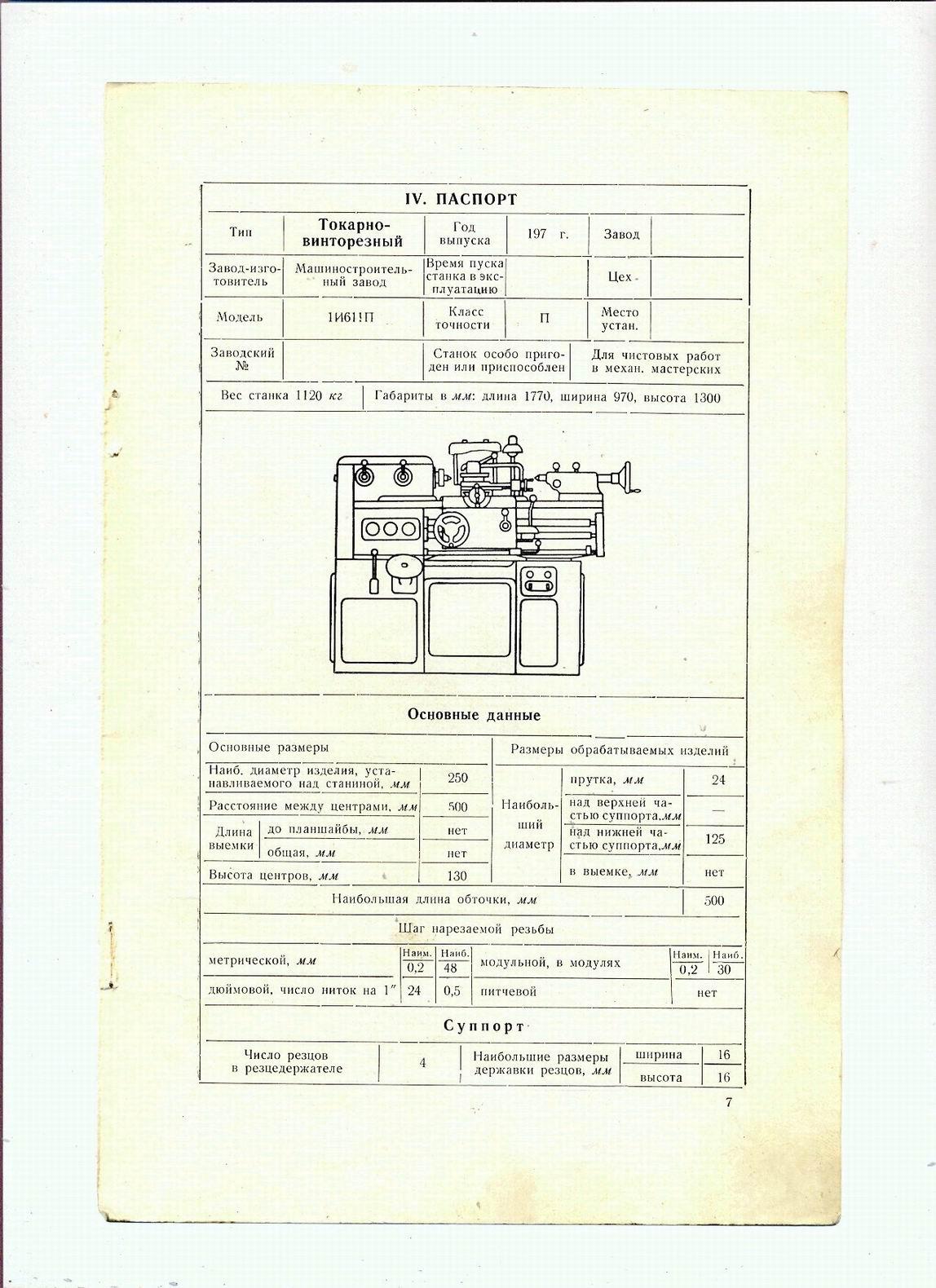 Токарный станок иж 1и611п тех. характеристики