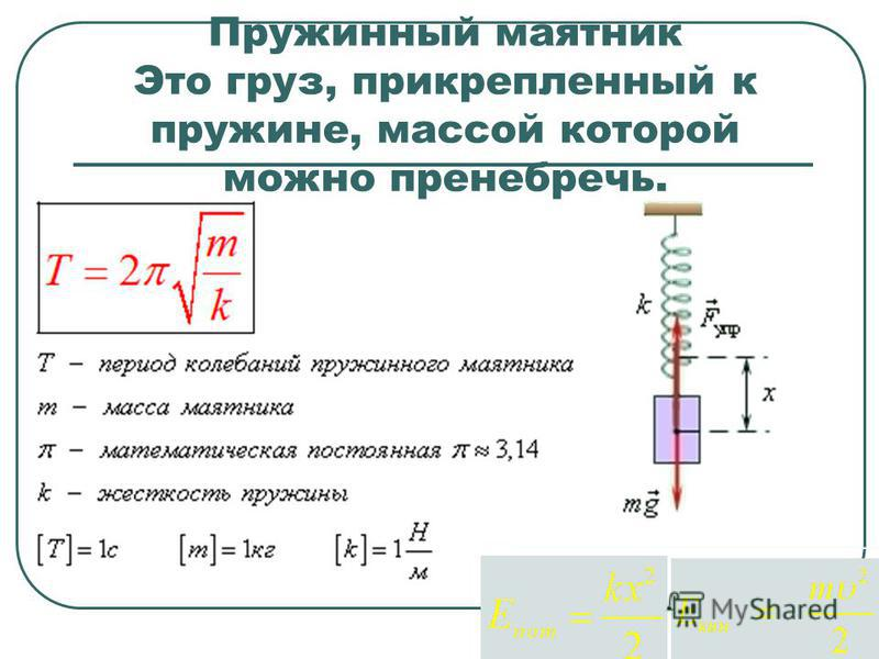 Пружинный маятник период и амплитуда колебани1, формула, жесткость
