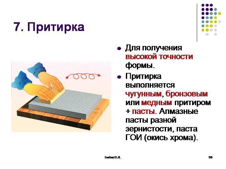 Доводка-притирка поверхности детали, абразивная и химико-механическая, составы притирочных паст и суспензий для доводки-притирки поверхностей деталей.