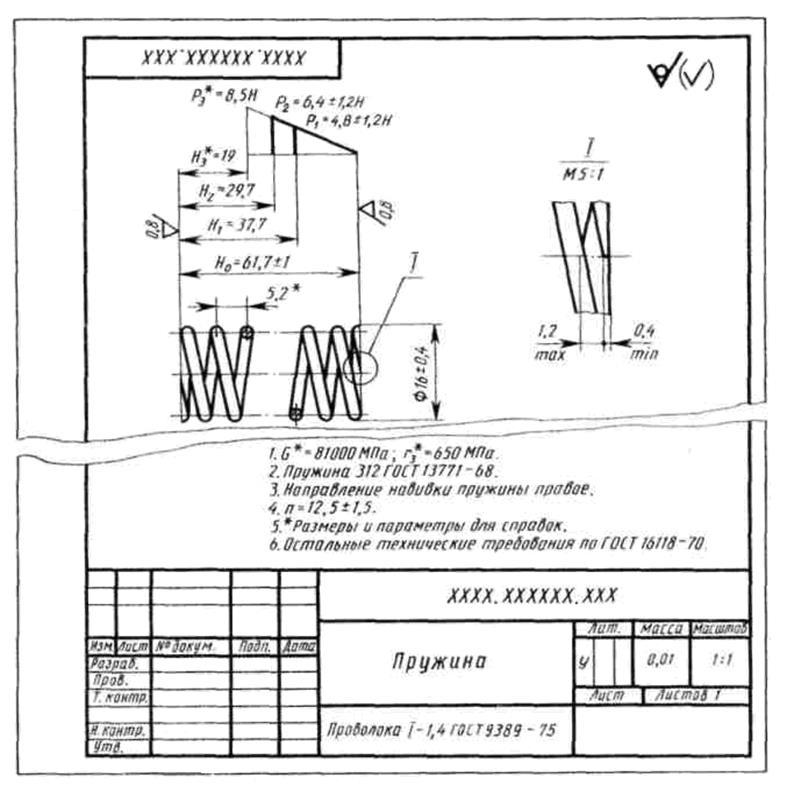 Правила выполнения чертежей пружин - морской флот
