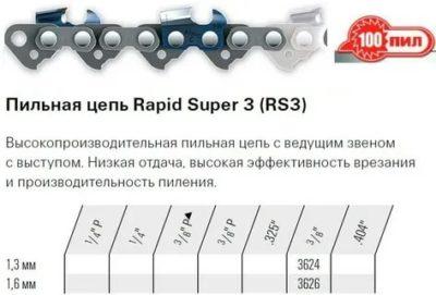 Таблица размера пильной цепи и шины для бензопил