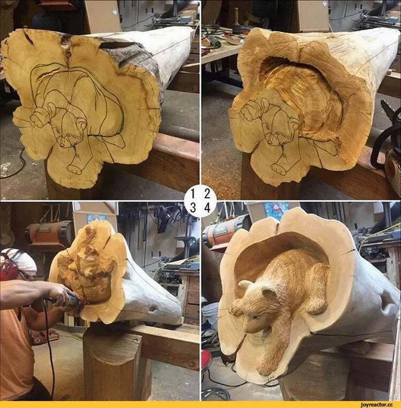 Резьба по дереву бензопилой: деревянные скульптуры для начинающих. как поэтапно вырезать пилой медведя и другие большие скульптуры, белочку и гриб?