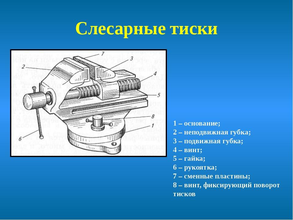 Устройство слесарных тисков