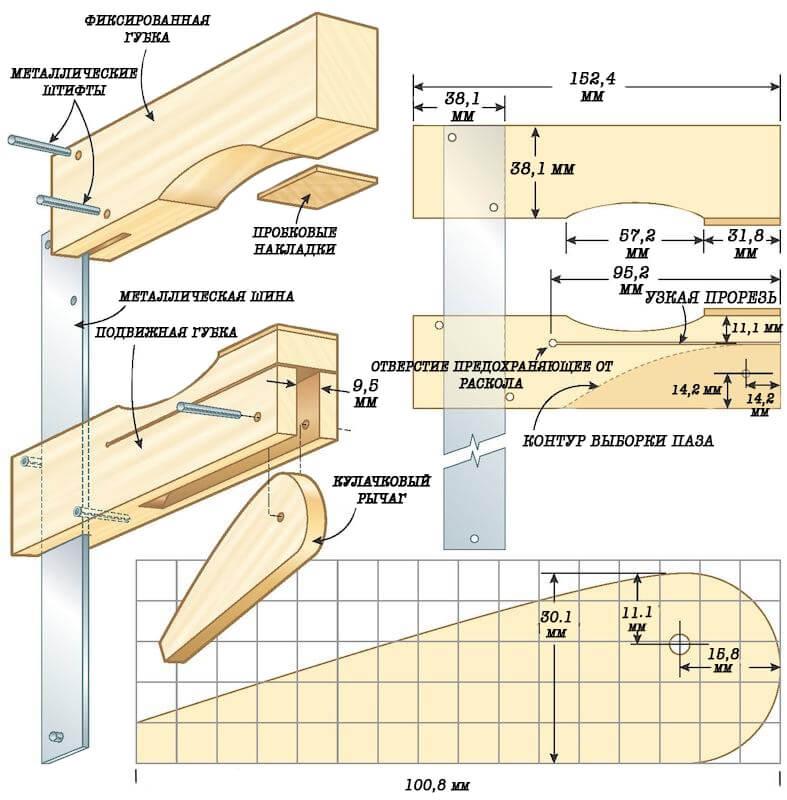 Как сделать простую столярную струбцину своими руками – инструкция