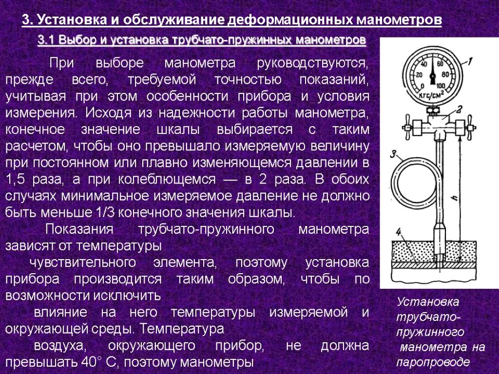 Установка манометра — правила и требования — правила, требования, схема
