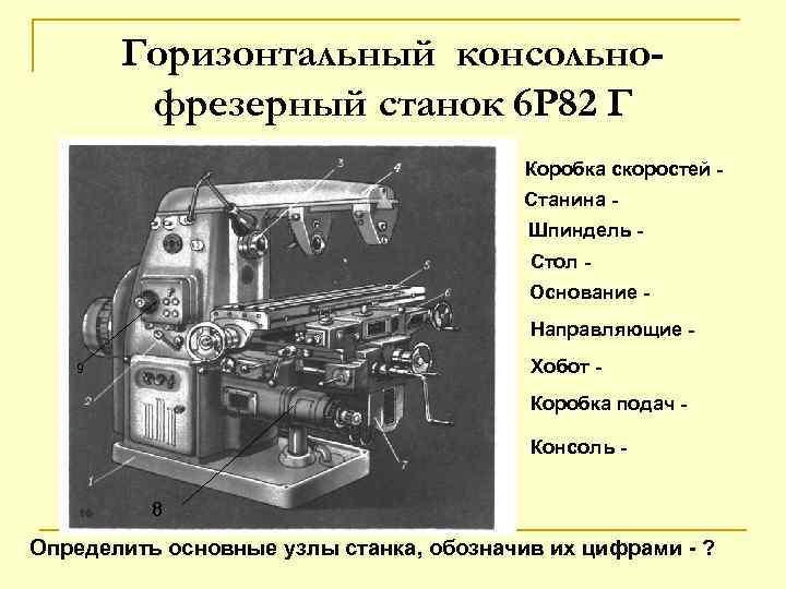 Описание и технические характеристики горизонтального консольно-фрезерного станка 6т82г