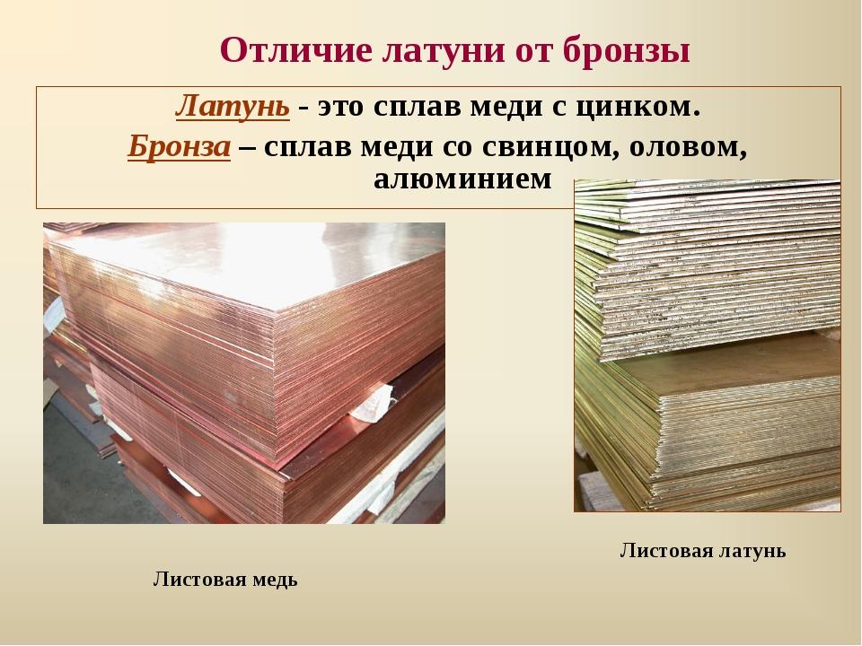 Отличия бронзы от латуни по свойствам, составу и цвету