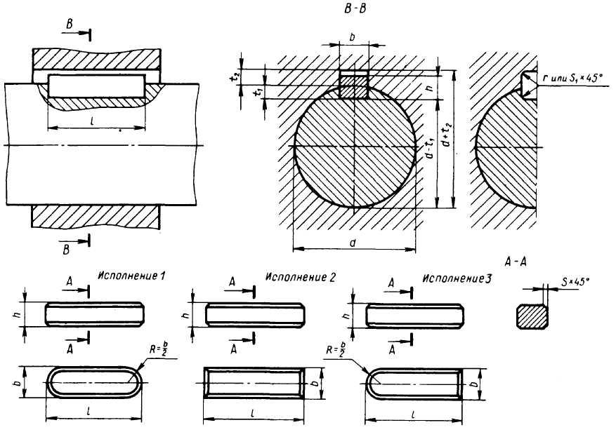 Чертежи шпоночных и штифтовых соединений