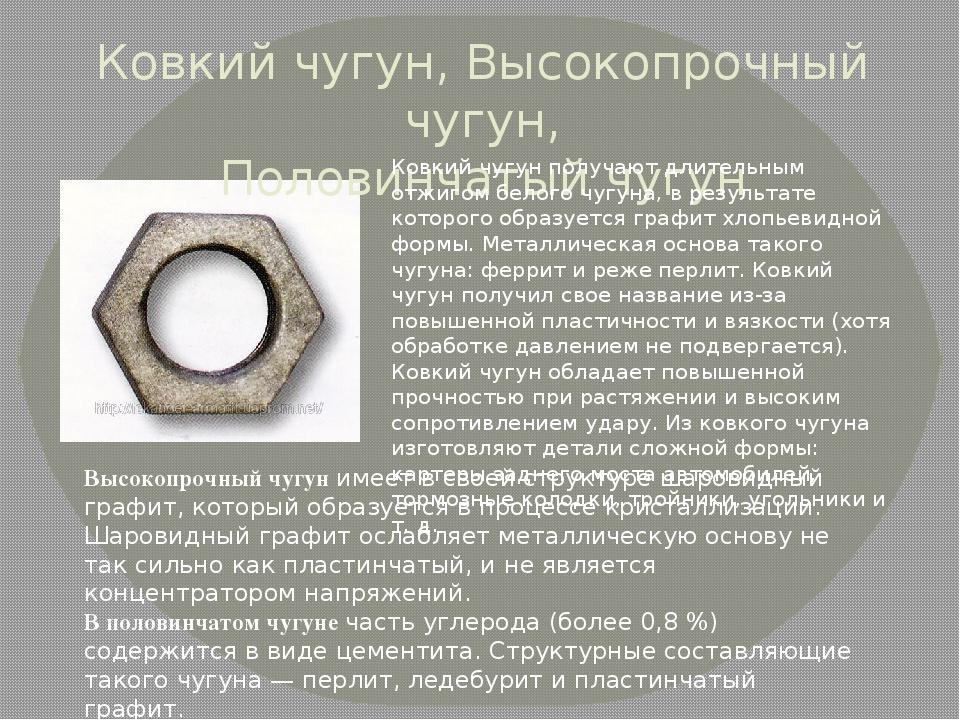 Ковкий чугун: что это, свойства и применение, маркировка марок чугуна