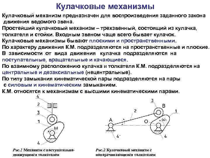 Лекция 17. анализ и проектирование кулачковых механизмов.