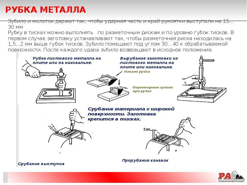 Обрубка металла. способы, инструмент для обрубки металла