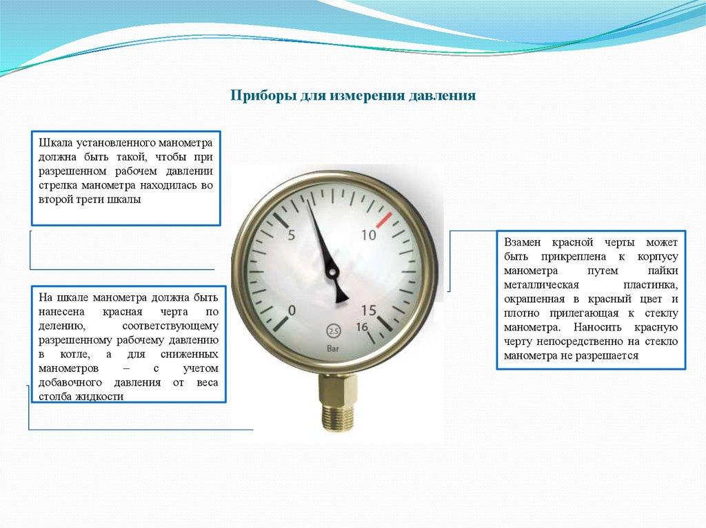 Предел измерения рабочего давления находится во второй трети шкалы