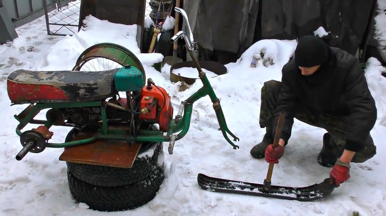Изготовление из бензопилы снегохода — своими руками, чертеж