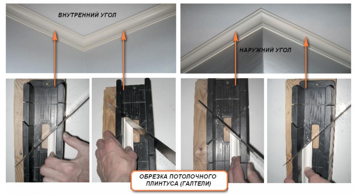 Как вырезать угол потолочного плинтуса своими руками: рекомендации, фото, видео