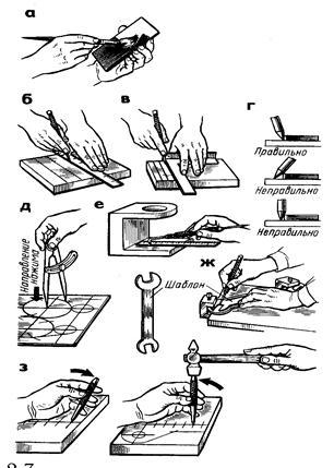 § 15. приемы плоскостной разметки  [1980 макиенко н.и. - общий курс слесарного дела]