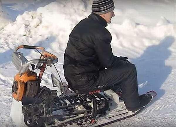 Как своими руками сделать снегоход из бензопилы подручных материалов: рассматриваем по порядку
