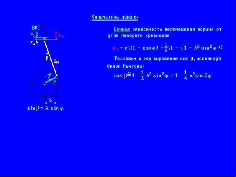 Расчет скорости и ускорения точки кривошипного механизма - лекции и примеры решения задач технической механики