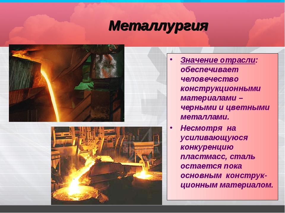 Главные страны производители черной и цветной металлургии