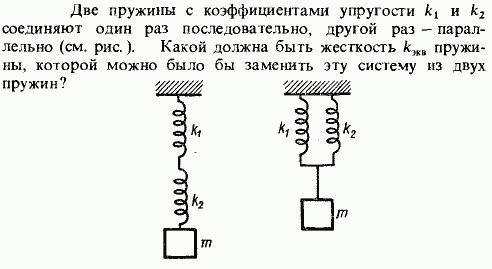 Последовательное соединение пружин разной жесткости