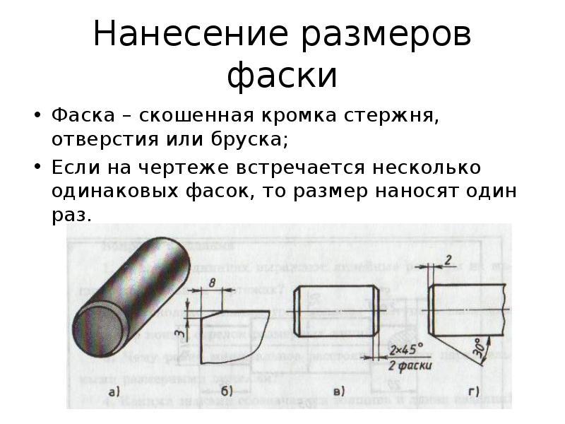 Обозначение фаски на чертеже гост