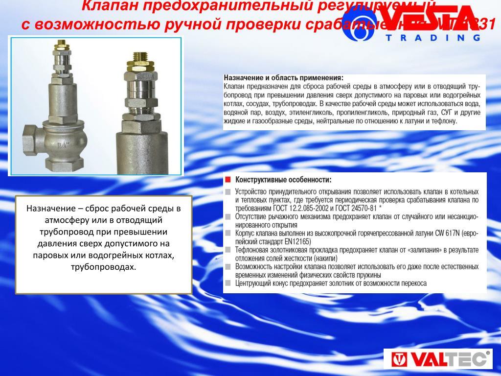 Клапан сброса избыточного давления воды, воздуха