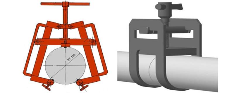 Центраторы для сварки труб большого и малого диаметра: внутренние и облегченные наружные