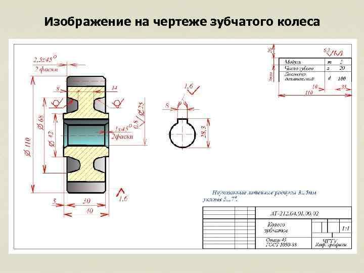 Изображение зубчатых колес на чертежах