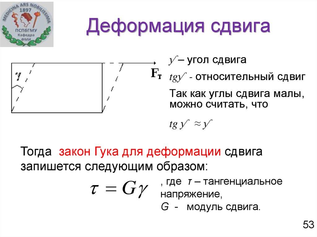 Деформация сдвига: определение, общие сведения, расчеты