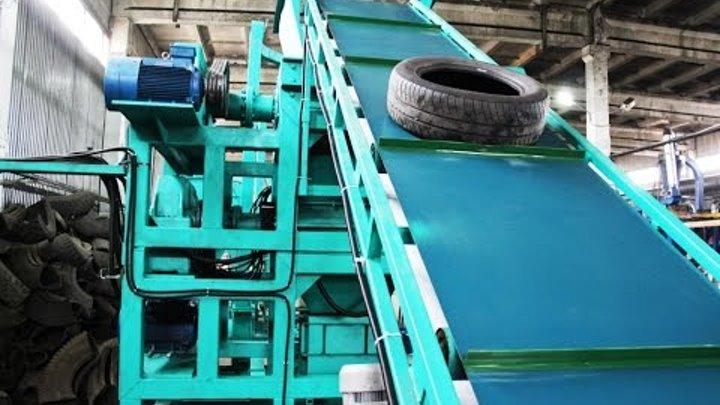 Превращение шин в крошку путем переработки на мини-заводе