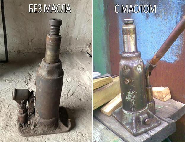 Как залить масло в домкрат бутылочного типа