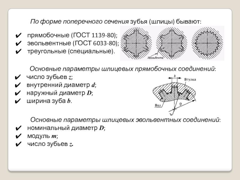 Шлицевые эвольвентные соединения | pro-techinfo