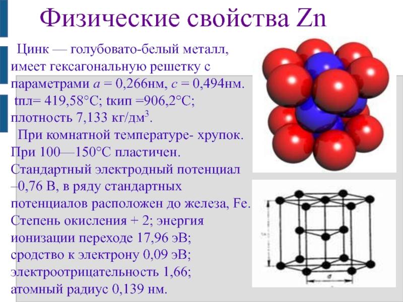 Цинк, свойства атома, химические и физические свойства