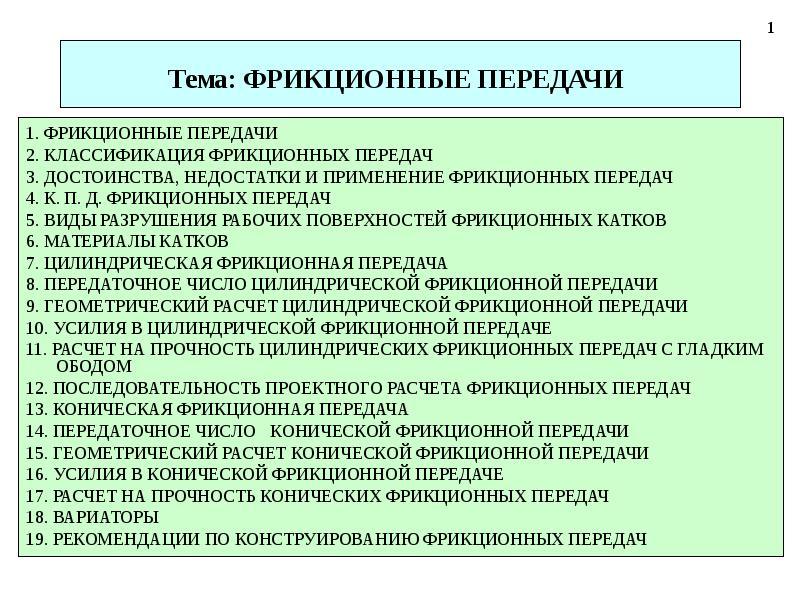 Фрикционные передачи.