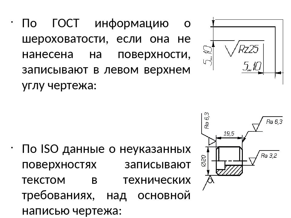 Условные обозначения шероховатости на чертежах - морской флот