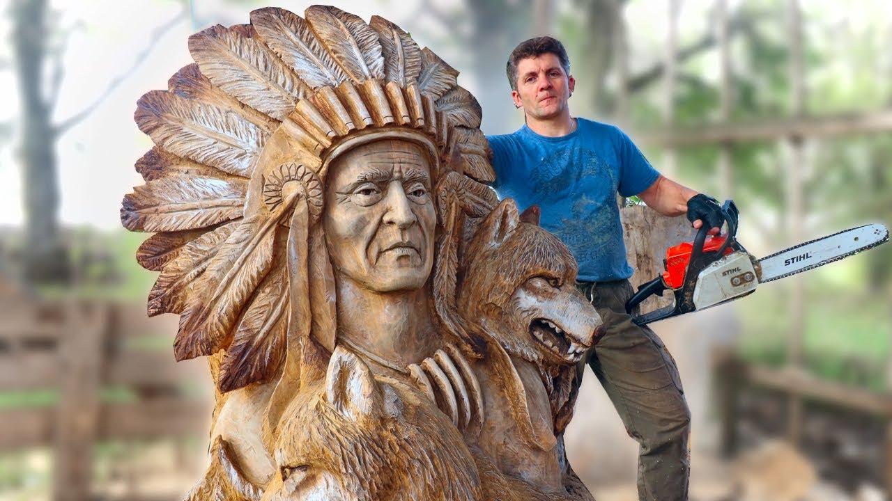 Карвинг бензопилой для начинающих. резьба по дереву бензопилой как увлекательное искусство создания красивых скульптур из стволов спиленных деревьев. резьба бензопилой. резьба по дереву, живопись на к