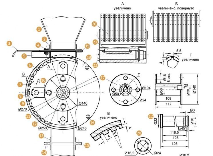 О зернодробилке своими руками: как сделать из стиральной машины и болгарки