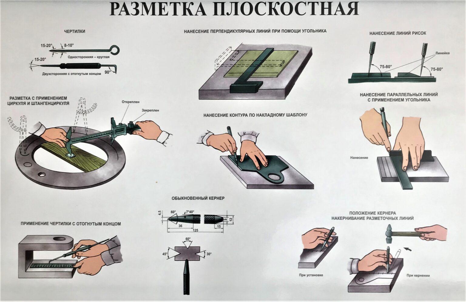 Слесарное дело. инструменты для плоскостной разметки