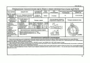 Технологическая карта сварки с указанием режима выполнения сварного соединения и процесса сборки изделия