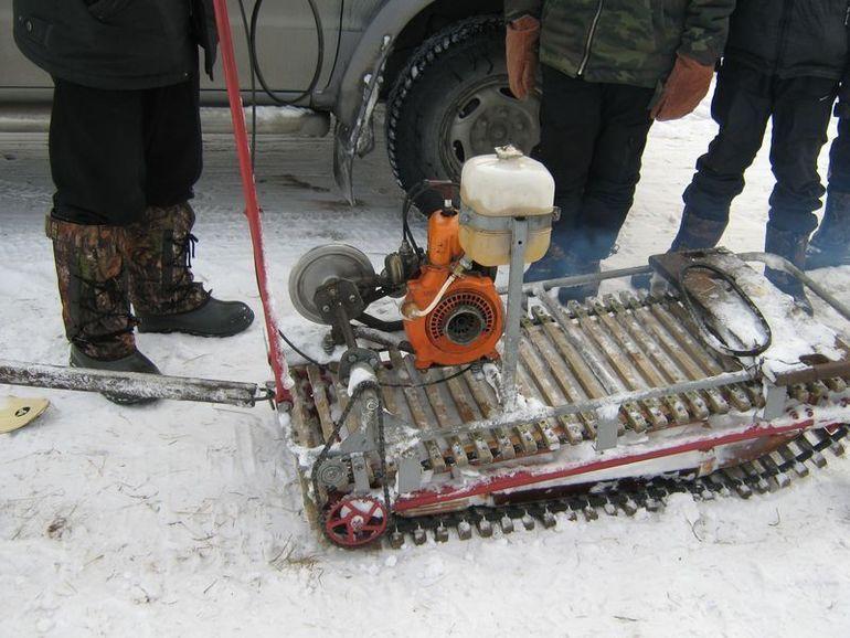 Снегоход из бензопилы: самодельный, своими руками, как сделать, аэросани, мотособака, чертежи