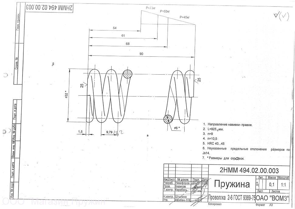 Правила выполнения чертежей пружин