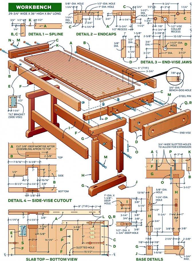 Верстак: правила конструирования, изготовление для разного рода столярных и слесарных работ