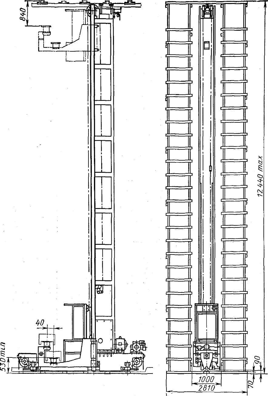 Кран штабелер мостовой электрический подвесной для стеллажей. кран штабелер